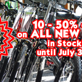 10 – 50% OFF on all new bikes in stock until July 31st!